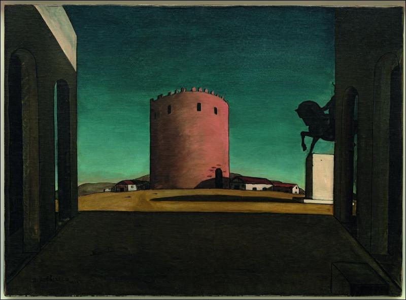 Quelle est la couleur de la tour de Giorgio de Chirico, place d'Italie ?