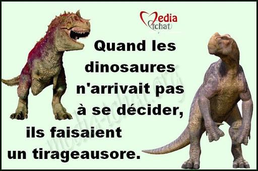 Dieu crée les dinosaures. Dieu détruit les dinosaures. Dieu crée l'homme. L'homme détruit Dieu. L'homme crée les dinosaures. Les dinosaures mangent l'homme. Et la femme hérite de la terre !