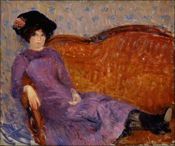 """Qui a peint """"Femme en violet allongée sur un canapé"""" ?"""