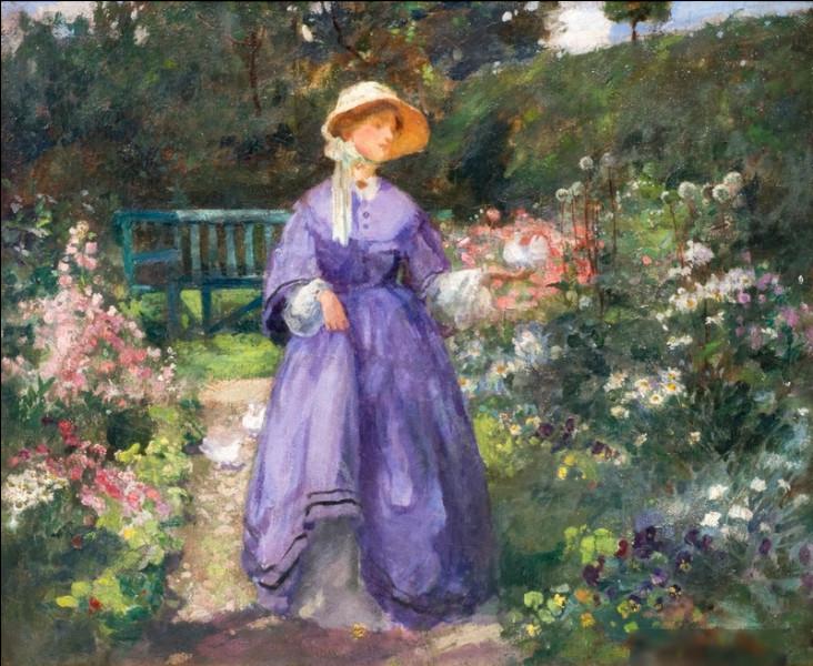 """""""Femme en robe violette dans le jardin"""" est un tableau de quel peintre ?"""