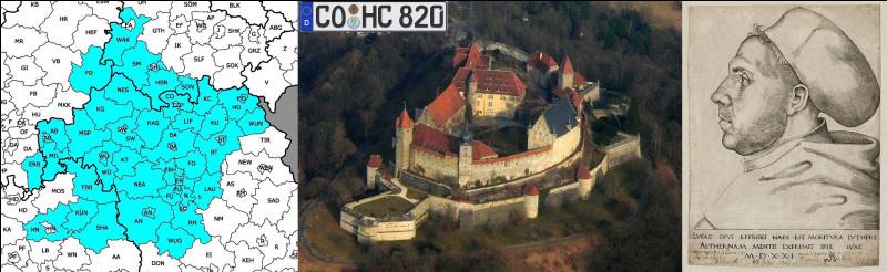 Comment quitter la Franconie sans rendre hommage à la forteresse de Co..... (Complétez !) et à Lucas Cranach l'Ancien qui a peint l'un de ces plus célèbres visiteurs : lequel ?