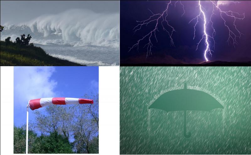 Les cyclones et tempêtes ne sont hélas pas les seuls phénomènes météorologiques qui menacent chaque année la Réunion. Grâce aux images, nommez les différentes vigilances météorologiques.