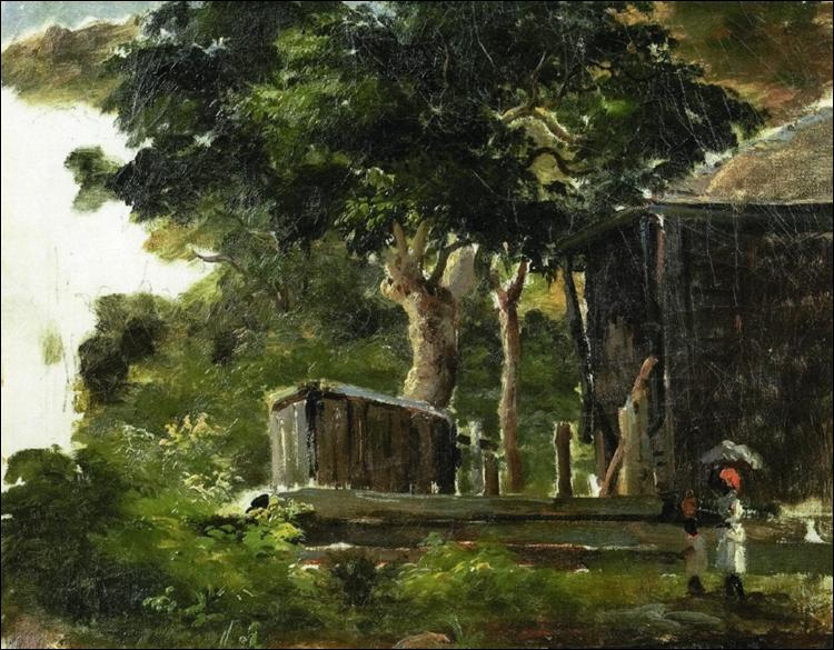 """Qui a peint """"Paysage avec maison dans les bois à Saint Thomas, Antilles"""" ?"""