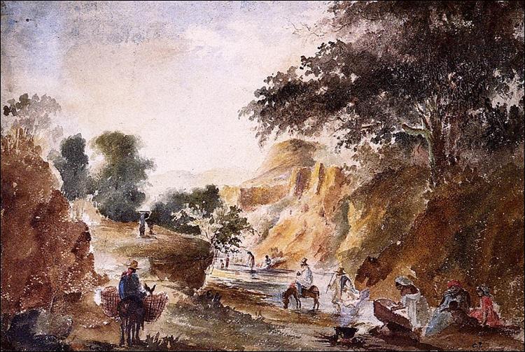 """Qui a peint """"Paysage aux personnages au bord d'une rivière"""" ?"""