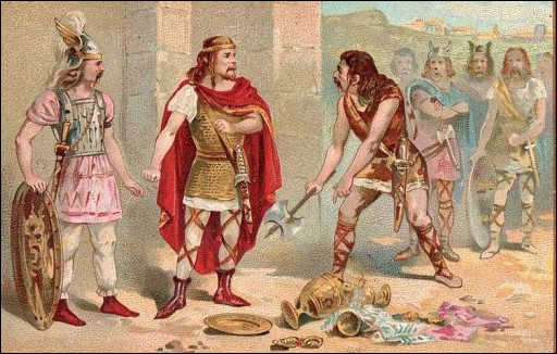 Quel ce récipient, un vase précieux, anecdote historique de 486 au cours de la guerre victorieuse livrée par Clovis au Romain Syagrius ?