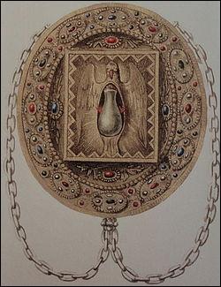 Quel est ce récipient, une fiole d'huile sacrée qui aurait servi lors du baptême de Clovis, utilisée en partie pour l'onction des rois de France pendant la cérémonie du sacre ?