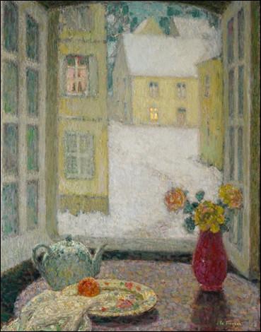"""Sa toile s'intitule """"La Table devant la fenêtre, neige"""" :"""