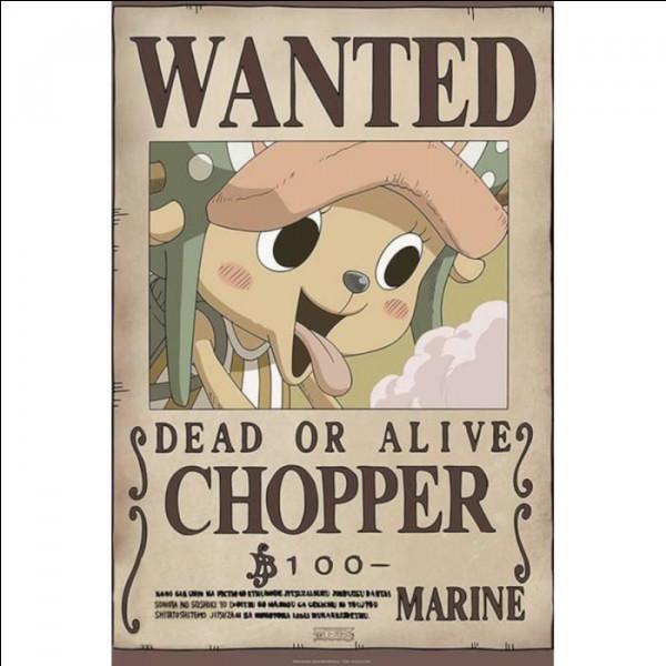 La prime de Chopper est de 100฿, ce qui équivaut, dans le manga, au prix...