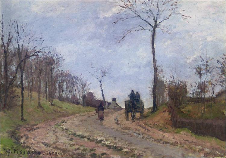 """Qui a peint """"Transport sur une route de campagne, hiver, périphérie de Louveciennes"""" ?"""
