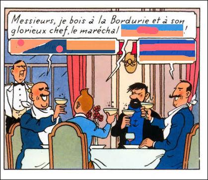 Tintin et Haddock en la fâcheuse compagnie de deux policiers bordures... De quelle manière se saluent-ils, en portant un toast à leur chef ?