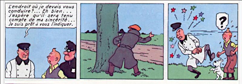 Au moment crucial, un bandit envoie un projectile au visage du méchant. Mais de quoi s'agissait-il ?