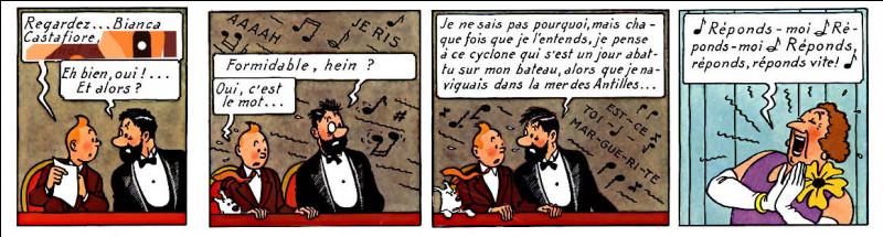 Ici, c'est Tintin qui donne un surnom à la Castafiore. Mais surtour, que va-t-il arriver à la case suivante de cette série ?