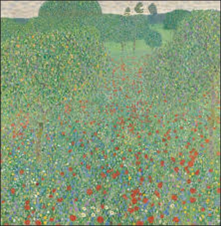 Exécuté par un symboliste, ''Champs de coquelicots'' est un tableau peint en 1907. Quel est le nom du peintre qui a réalisé cette toile ?