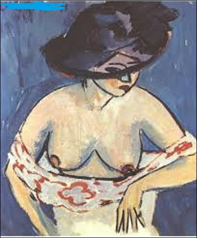 Datant de 1911, ''Demi nu féminin avec chapeau'' est une toile réalisée par un expressionniste, quel est son nom ?