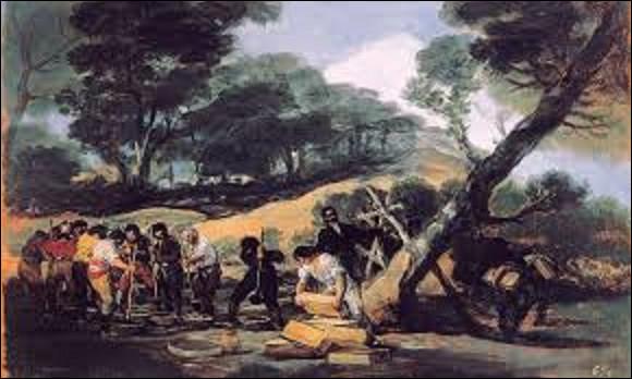 Huile sur bois conservée au palais de la Zarzuela à Madrid, réalisée entre 1810 et 1814, ''Fabrication de la poudre dans la Sierra de Tardienta'' est un tableau peint par un artiste espagnol. De ces trois peintres lequel en est le réalisateur ?