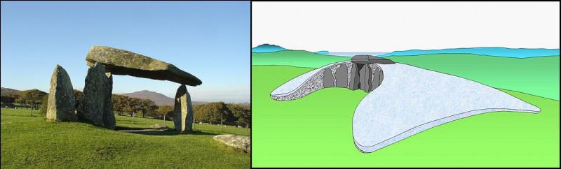 Commençons la visite par le dolmen de Pentre Ifan, dans le Pembrokeshire (Pays de Galles) : par rapport à la pyramide de Gizeh (- 2 650), quel âge aurait-il ?