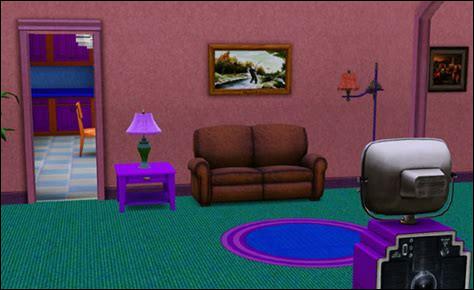 Que représente le tableau accroché au mur du salon du foyer des Simpson ?
