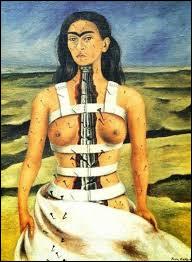 Dans un tableau célèbre de Frida Kahlo, comment la colonne est-elle ?