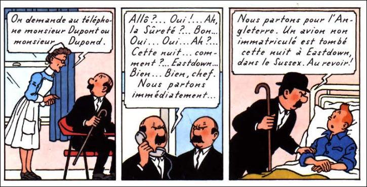 Pour une fois que Dupondt ne téléphone pas avec son parapluie... En attendant, Tintin est alité ! Que remarque-t-on sur ces quelques cases ?