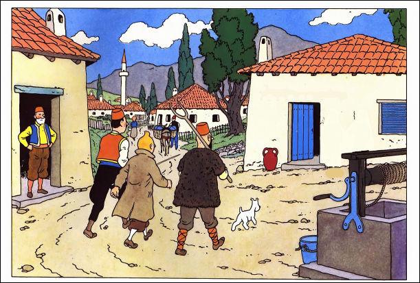 C'est d'un pas assuré et flanqué de deux paysans syldaves que Tintin se dirige vers cette bâtisse où l'on peut lire ordinairement ...