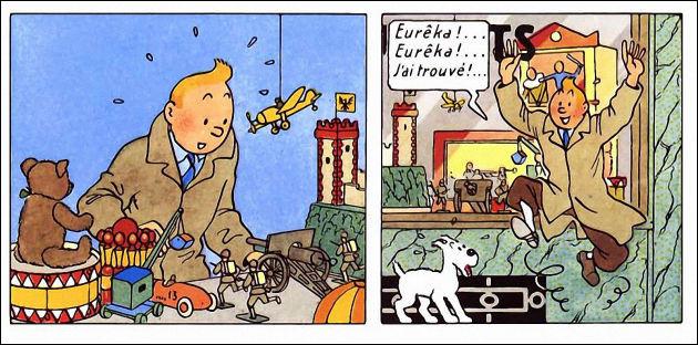 Là non plus, Tintin ne cache pas sa joie... Mais pourquoi, au juste ?