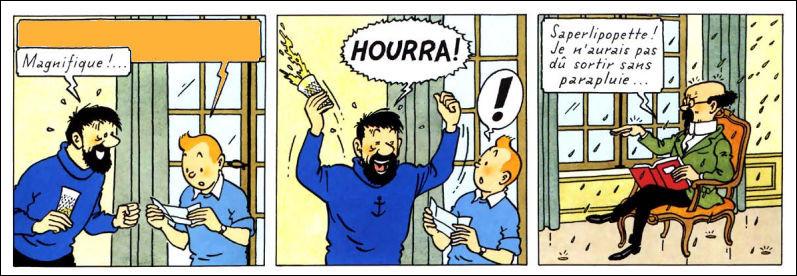 À la lecture de ce télégramme par Tintin, Haddock laisse exploser sa joie : il doit y avoir une bonne raison. Laquelle ?