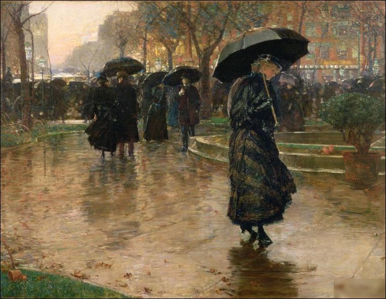 """Quel peintre est l'auteur du tableau """"Tempête de pluie, Union Square"""" ?"""