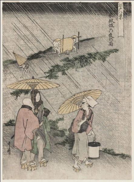 """""""Nuit de pluie à Emonzaka"""" est une estampe de quel japonais ?"""