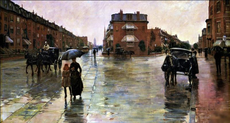 """Quel impressionniste américain est l'auteur du tableau """"Jour de pluie à Boston"""" ?"""