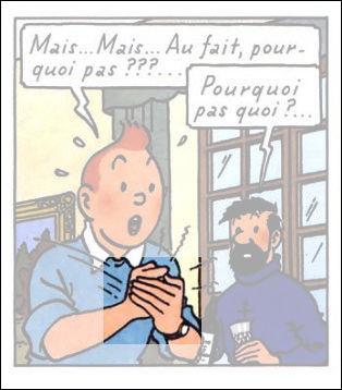 Tintin joint même le geste : celui ci-dessus fut célèbre, il ne vous reste qu'à lui associer la bonne parole... ainsi que le personnage idoine !