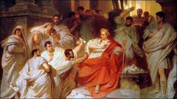 15 mars 44 av. J.-C. : En plein sénat César se fait poignarder de 23 coups de couteau. Parmi les assassins, il reconnaît une personne et lui dit : ''Toi aussi mon fils''. De qui parlait-il ?