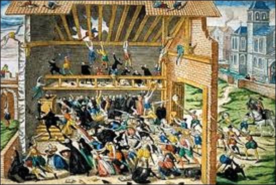 1er mars 1562 : En passant à Wassy (Haute-Marne), François de Guise, chef des catholiques, apprend qu'une assemblée de protestants se tient dans une grange. Une entorse à l'édit royal de janvier, qui autorise seulement les protestants à célébrer leur culte publiquement à l'extérieur des villes. Les troupes du duc sont reçues avec des pierres et donnent l'assaut. Combien de personnes périrent ?