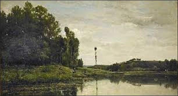 Toile de 88,9 cm de haut sur 1,61 m de long, peinte en 1863, ''Bords de l'Oise'' est un tableau réalisé par un paysagiste. De qui s'agit-il ?