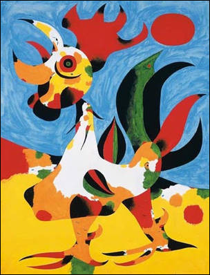 """Voici l'œuvre du peintre espagnol, né à Barcelone, mort à Majorque, n'ayant pas d'enfants, ayant réalisé cette toile intitulée """"Le Coq"""" :"""