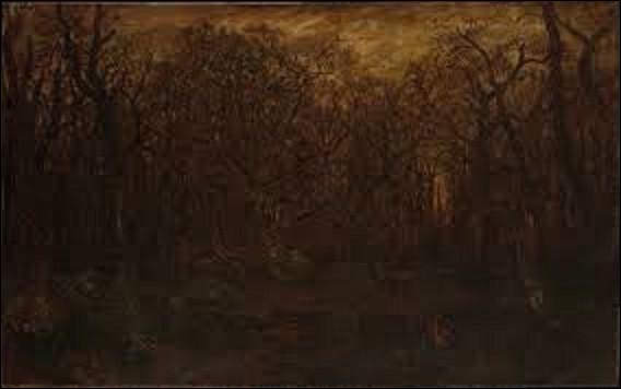 Peinture : Tableau représentant un paysage forestier en hiver, ''La Forêt en hiver au coucher du soleil'' est une toile réalisée au milieu du XIXe siècle. Quel paysagiste en est l'auteur ?