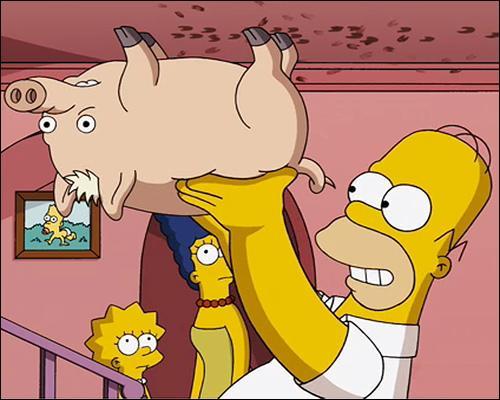 Comment Homer a-t-il baptisé ce cochon dans Les Simpson le film ?