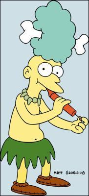 Quel assistant de Krusty le Clown porte un os dans les cheveux ?