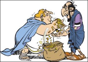 """Cette fois, je vous donne carrément le nom de ce romain, à vous de faire confiance en vos notions de biologie ! On cherche la correspondance du romain, à droite sur l'image, chargé de percevoir les impôts, taxes, amendes, péages et autres redevances de la province de Condate (Rennes) et rencontré dans l'album """"Astérix chez les Helvètes"""" : j'ai nommé Caius Eucaliptus !"""