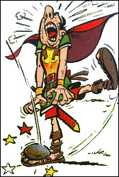 Continuons dans les autres bandes dessinées : quel chien pouvons-nous associer à Marcus Sacapus, bras droit du centurion Caius Bonus dans le premier album d'Astérix ?