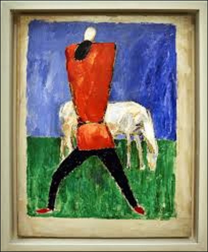 Huile sur toile représentant un homme vêtu de rouge et noir devant un cheval, ''Le Cheval blanc'' ou ''Homme et Cheval'' est un tableau peint autour de 1930 et 1931. Conservée au musée d'Art national de Paris, quel peintre abstrait a réalisé cette peinture ?