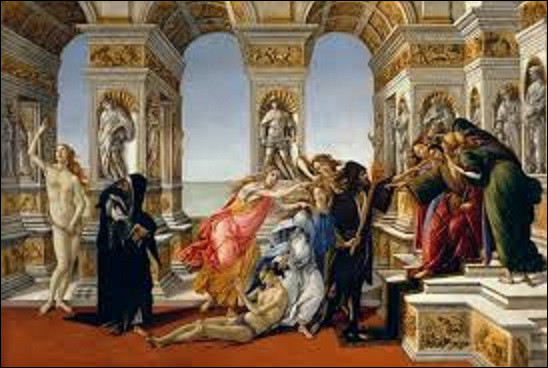 Peint aux alentours de 1495, probablement pour Antonio Segni, un banquier florentin, ''La Calomnie d'Apelle'' est une toile exécutée par un peintre de la Première Renaissance. Quel artiste en est l'auteur ?