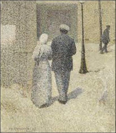De quel peintre, notamment pointilliste, est ce tableau intitulé ''Couple dans la rue'', toile datant de 1887 ?