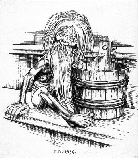 Pas de panique : le Bannik est un vieil homme avec de longues griffes et il est conseillé de toujours lui laisser de l'eau. En effet, il est le mauvais génie ... en ... !