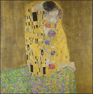 """""""Le Baiser"""" est une peinture sur toile recouverte de feuilles d'or conservée au palais du Belvédère à Vienne. L'auteur et sa compagne en sont probablement les modèles..."""