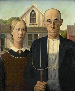 """La peinture """"American Gothic"""", réalisée en 1930, est vue comme l'œuvre emblématique du courant régionaliste et social américain."""