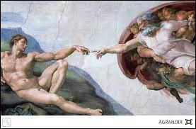 """""""La Création d'Adam"""", fresque inspirée du livre de la Genèse, est peinte sur la voûte centrale de la chapelle Sixtine. On la doit à/au..."""