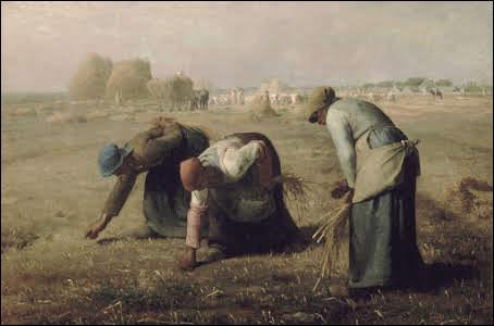 """Réalisée en 1857, """"Des glaneuses"""" est un bel exemple du courant réalisme dans la peinture. Son auteur est célèbre pour ses scènes champêtres et paysannes."""