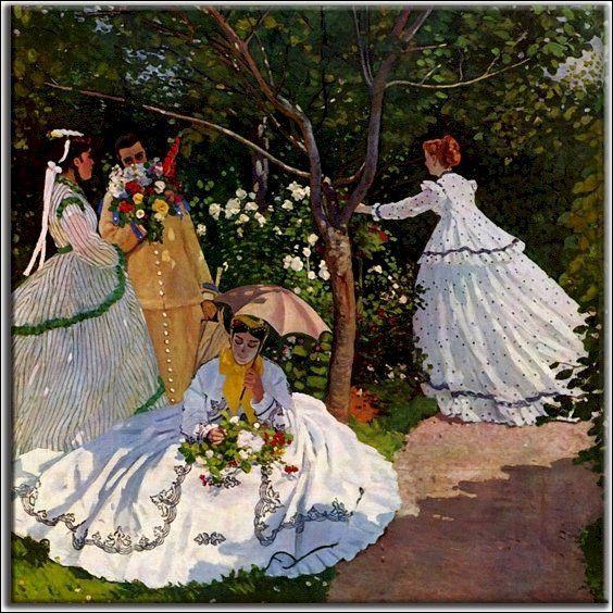 """Tous les personnages du tableau de Monet intitulé """"Femmes au jardin"""" ont..."""