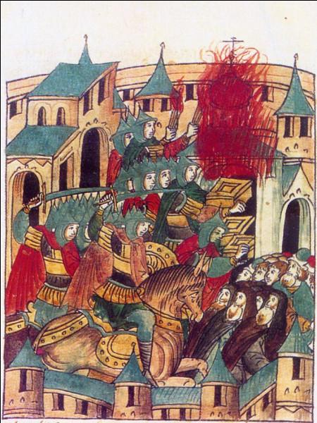 En novembre 1237, les principautés russes sont envahies ; les importantes villes de Riazan et Vladimir sont assiégées ; après plusieurs jours de combats sanglants, le 4 février 1238, la ville de Vladimir est prise, incendiée et rasée jusqu'aux fondations. Qui a ravagé la ville ?