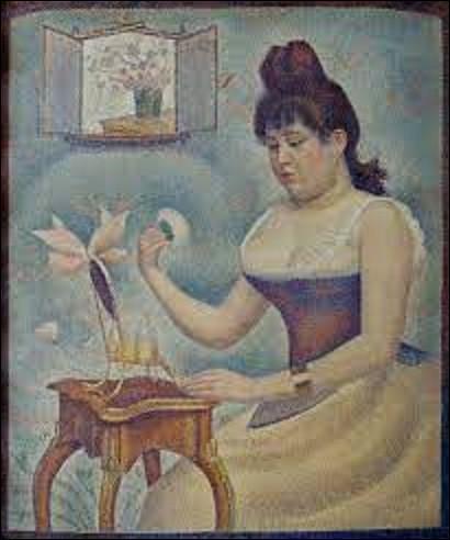 Quel pointilliste a réalisé ce tableau intitulé ''Jeune femme se poudrant'', toile exécutée entre 1889 et 1890 ?